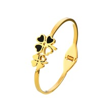 Four Leaf Clover 316L Stainless Steel Women Trendy Bangles Bracelets Yellow Gold Plated Jewelry Ladies