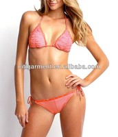 Women's Velvet trim and Rippled edges Bikini Beachwear Swimwear