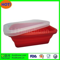 Eco-friendly foldable lunch box silicone container with lid FDA