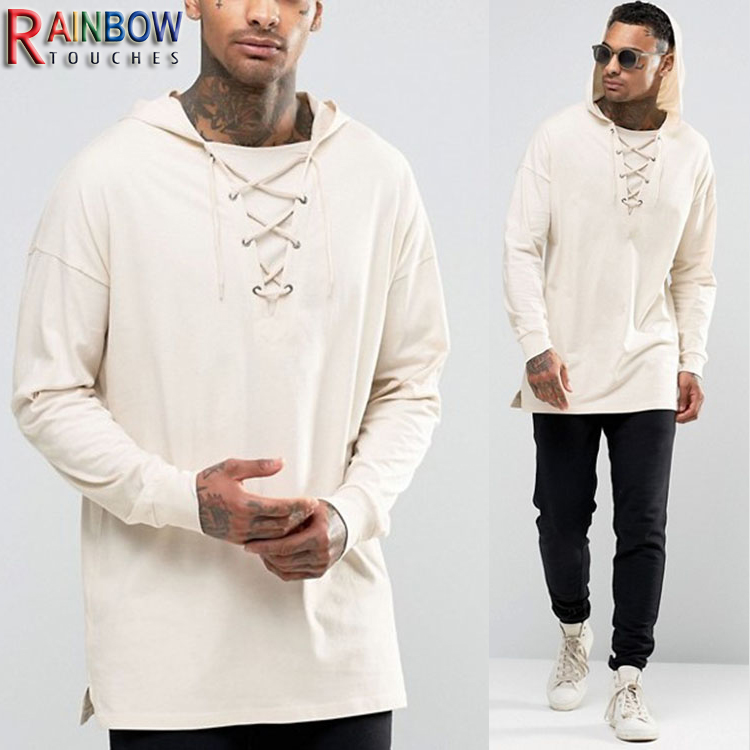 2017 fashion wholesale oversized longline long sleeve hooded t shirt for men