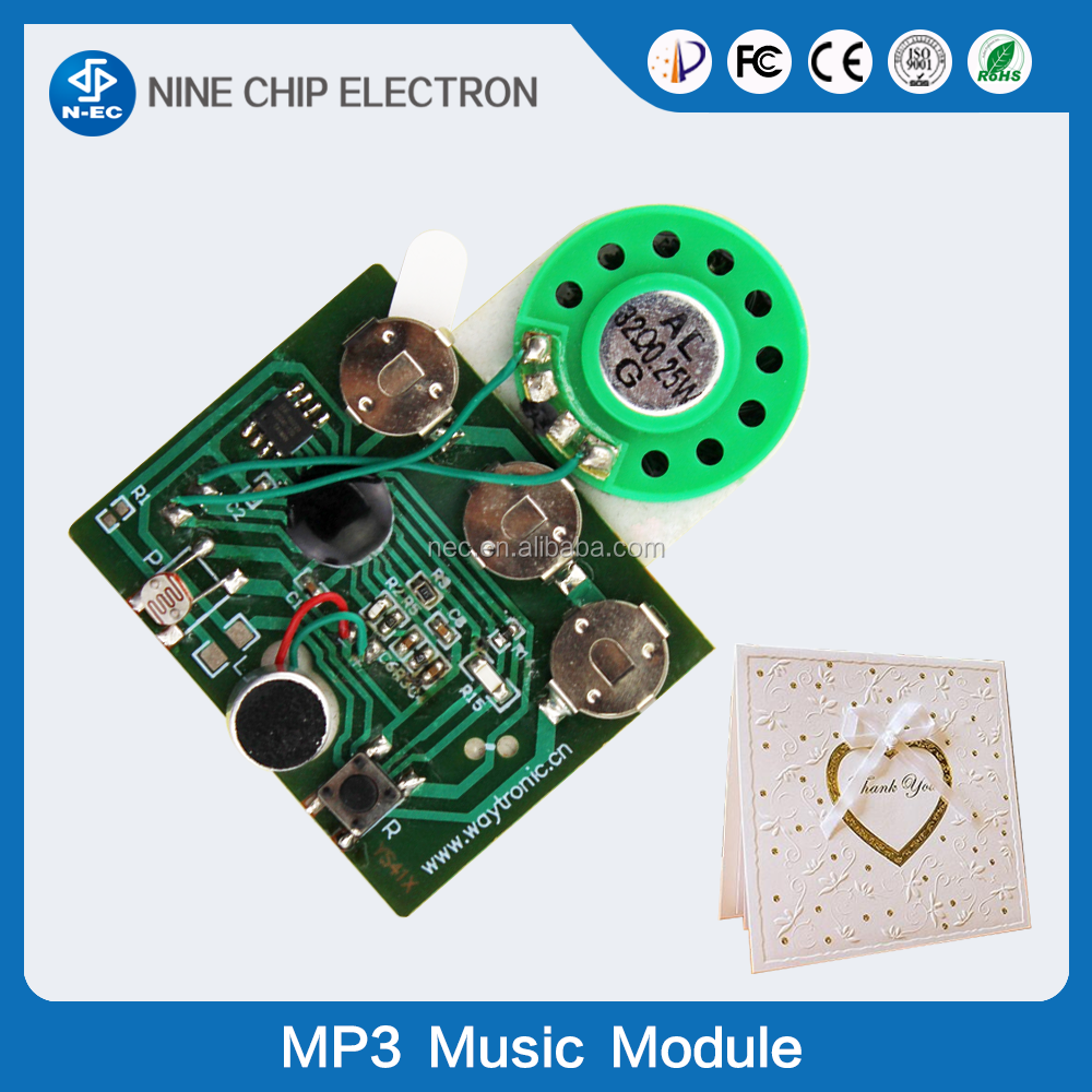 Music chips for greeting cards, recordable sound chip for greeting card, programmable musical chips for greeting card