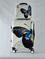 Classic butterfly printed ABS+PC Travel luggage Trolley luggage Zipper Luggage HARD CASE