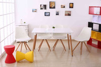 2016 Korean white rectangle mdf top wooden beech legs dining table BD-207