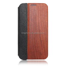 Leather wood phone cases flip leather holster high quality back cover for samsung galaxy S5
