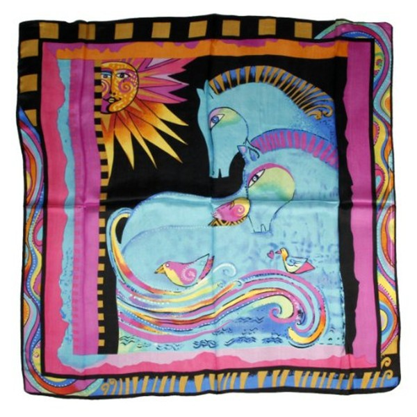 Elegant Women Square Horse Abstract Pattern Scarf Silk