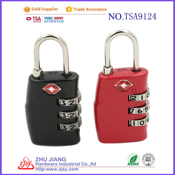 TSA High Strength Cord Locks/Zinc Alloy Combination PadLock 9124