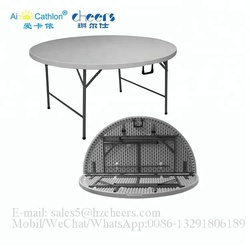 5 foot round folding table plastic, hot sale collapsible table for wedding banquet dining table modern