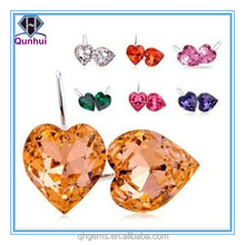 fancy charming multi-color heart shaped cz stone