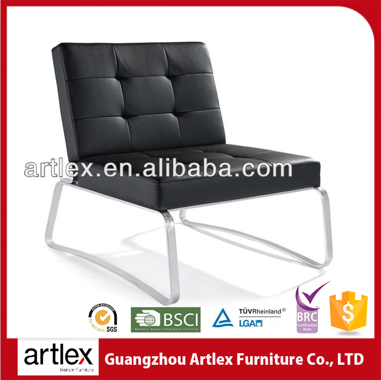 Hot Sale Modern Classic Style Room Leisure Legless Leather And Chrome Director Barcelona Chair