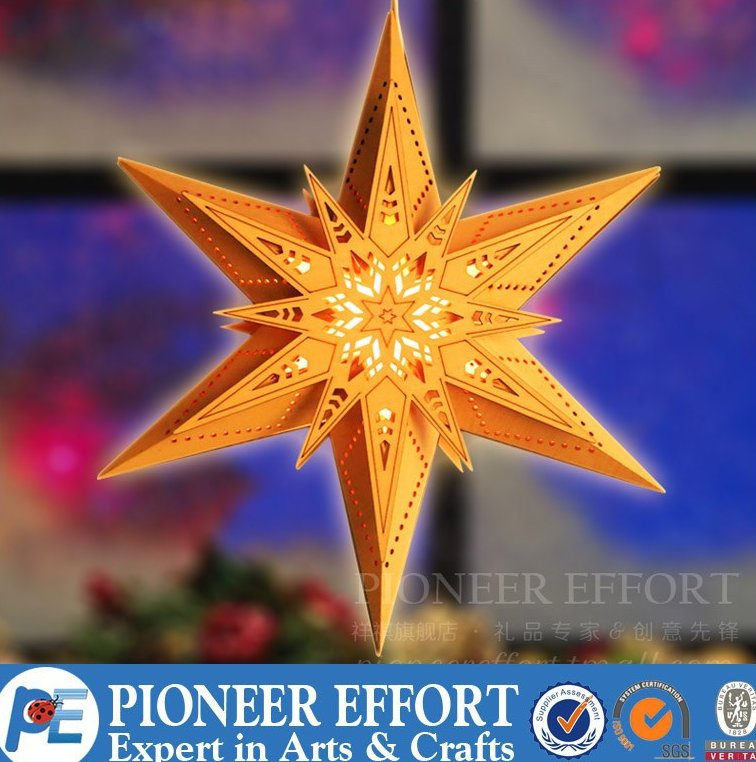 star shape wooden christmas led light decoration window light decorations