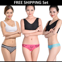 Free Shipping Hot Selling Design Sets of Panties and Thongs Soft Cotton Tangas Thongs Sexy Panties for Women