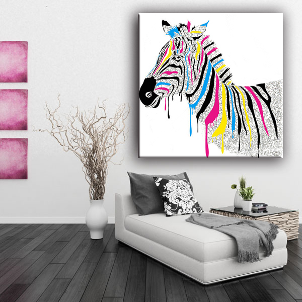 Coustomized colorful zebra chinese home goods wall art canvas painting