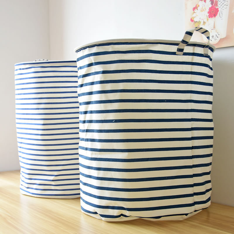 Large stripe Waterproof Cotton&Linen cloth storage folding laundry bin