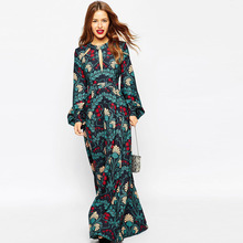 2016 new arrival Casual Chiffon Long Sleeve Printing Maxi Dress Wholesale