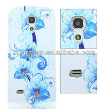 Flower Design Flip Leather Case For Samsung i9500 Galaxy S4