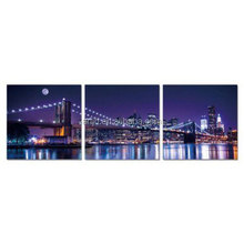 Design Art - 3 Piece New York Brooklyn Bridge night landscape Canvas wall hanging