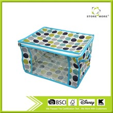 Non-woven Fabric Collapsible Clothes Quilt Storage Box With Lid Plastic storage box and zipper