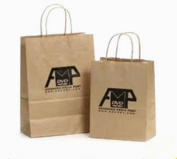 Brown Kraft Paper Bags With Twitted Handle For Gift Shopping