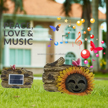 SCL0311 resin wood artificial decor speaker solar powered waterproof wireless speaker