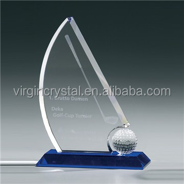 Wholesale Sailing Boat Glass crystal Football Plaque Awards with Customized Logo for Winner Gift