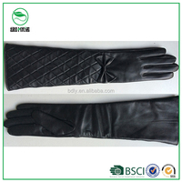 BSCI certificate young ladies sexy long style leather winter gloves for luxury dress