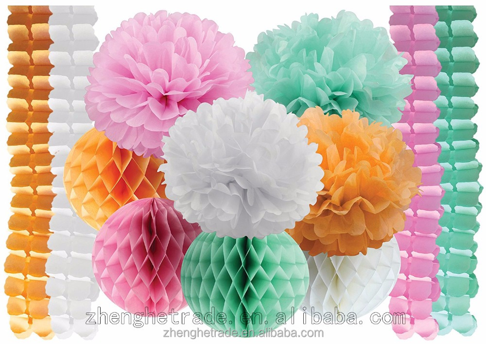 Pink, White, Green, Yellow Paper pom poms and paper honeycomb Combination