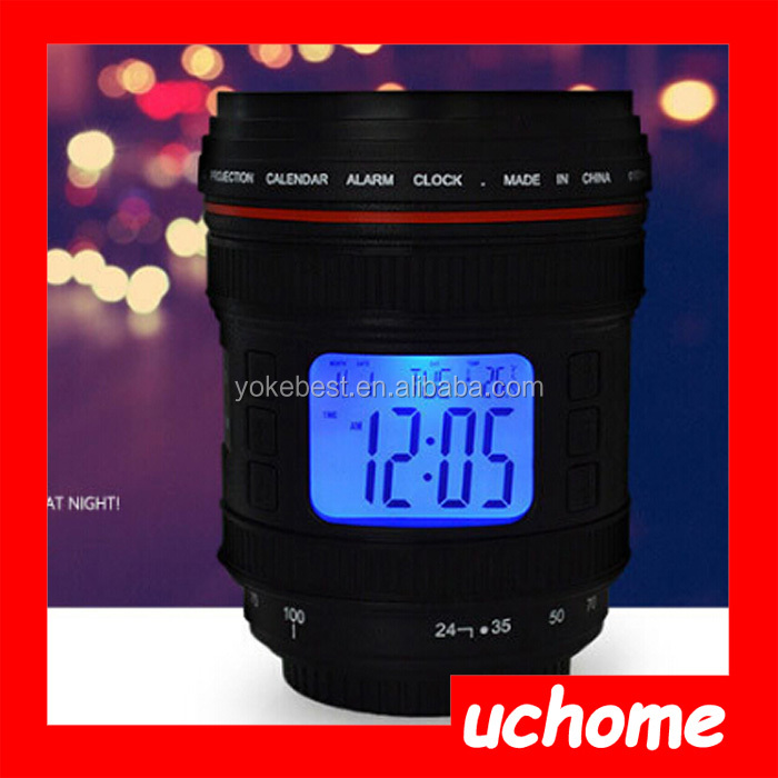 UCHOME Novelty Music Camera Lens Magic Projection Digital Alarm Clock / Calendar Thermometer