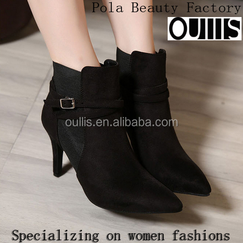 2017 China women boots high heel ankle boots black and beige boots PC4025