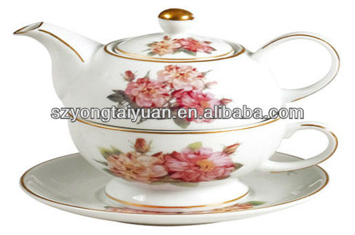 wholesale flower decal tea for one person tea set