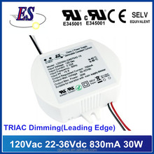 120VAC Input 30W 830mA 22-36Vdc Output Constant Current Triac Dimming LED driver,Leading edge dimmable driver