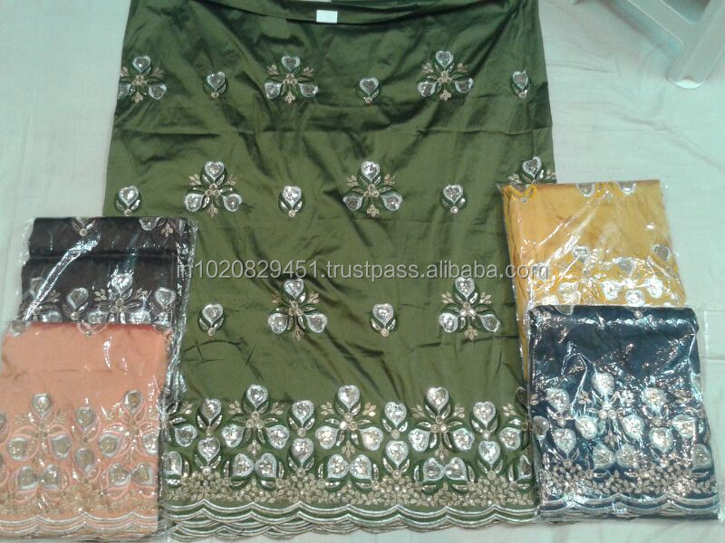 Raw Silk Embroidered Indian George Fabric