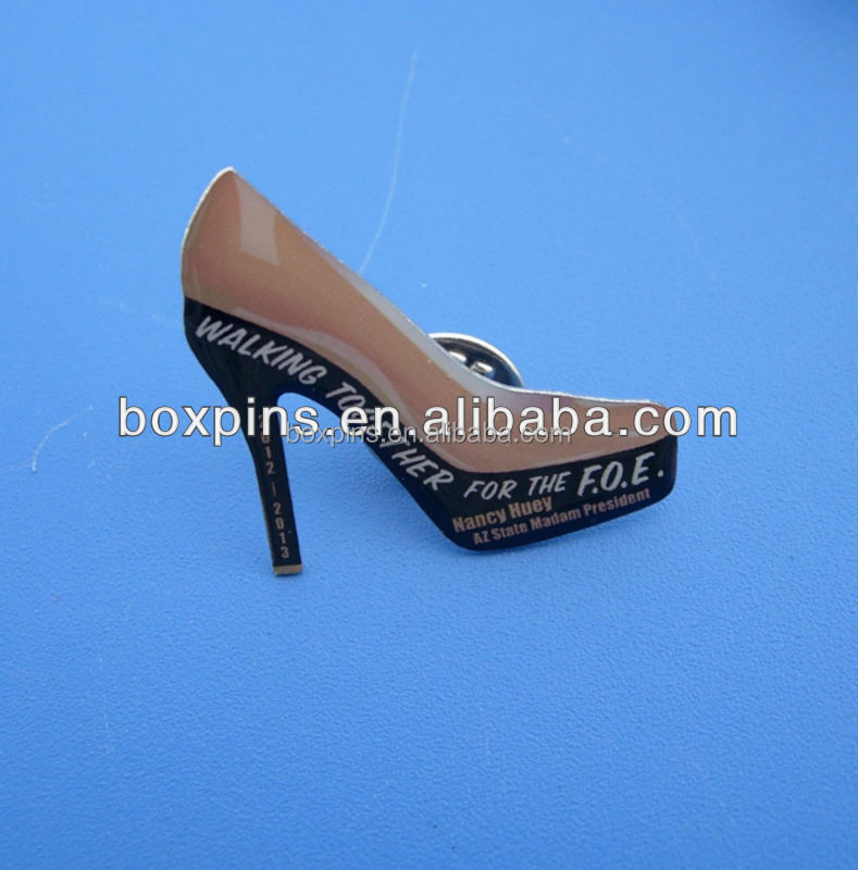 Fashion shoe lapel pin, high-heel shoe lapel pins, high heel lapel pins