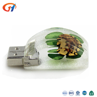 8GB USB Drive Custom Body Shape Resin Amber Insert Flowers