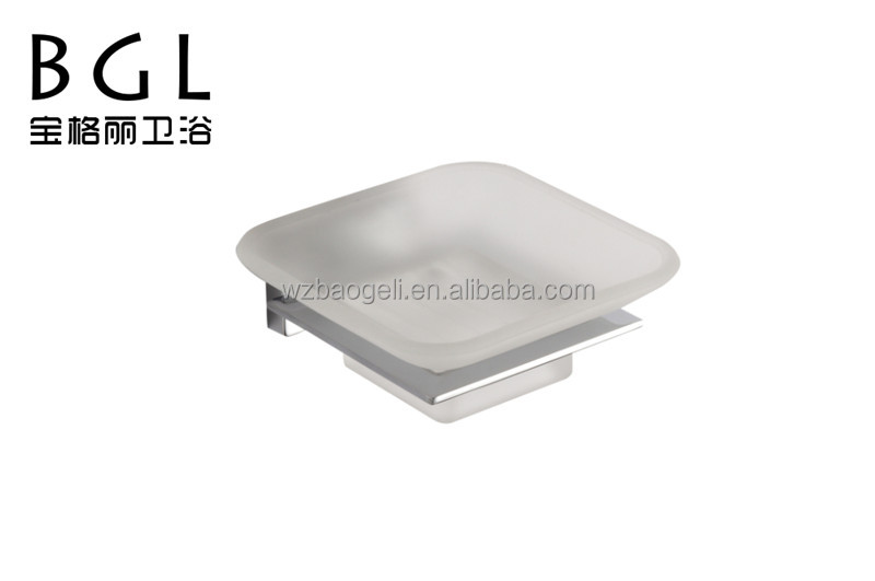bathroom accessories hotel zinc aloy and frosted glass soap dish