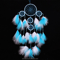 Five circles blue dream catcher wind chimes with feathers for home decoration