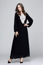 dubai abaya 2016 long sleeve chiffon dress Kaftan Abaya Jilbab Islamic Muslim dress