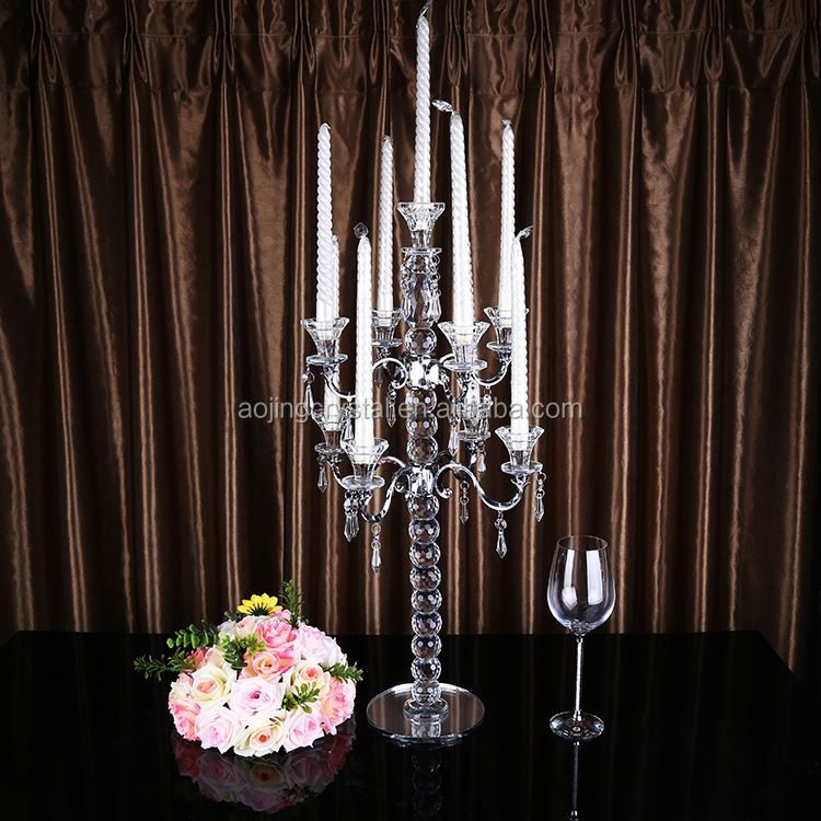 Main product floor standing crystal candelabra with 9 metal arms for wedding decoration