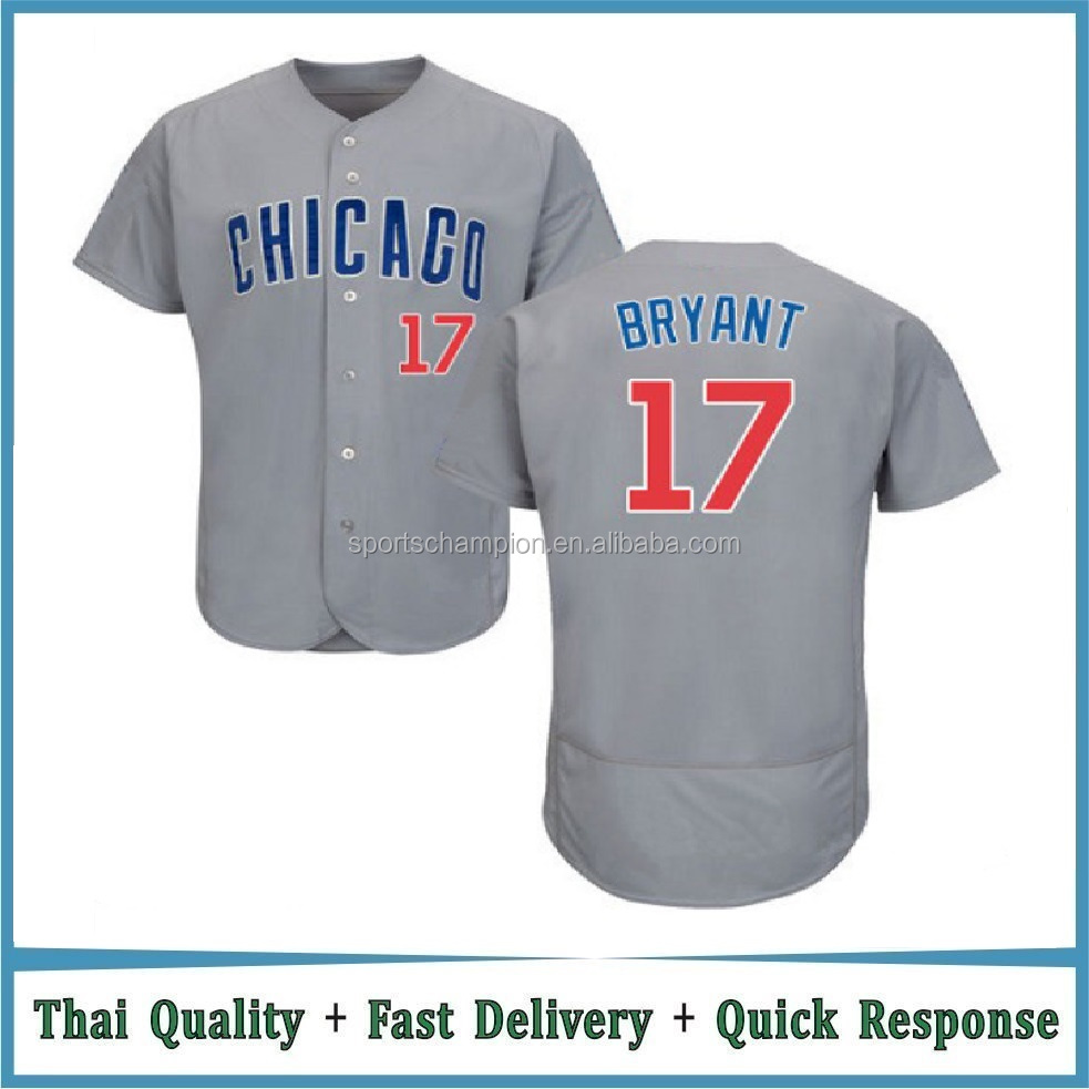 Chicago Cubs Jersey 2016 Cool Base Kris Bryant #17 Gray Baseball Jersey