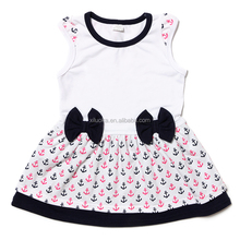 Bowknot cotton sleeveless dresses summer Girl Party Wear Western Dress