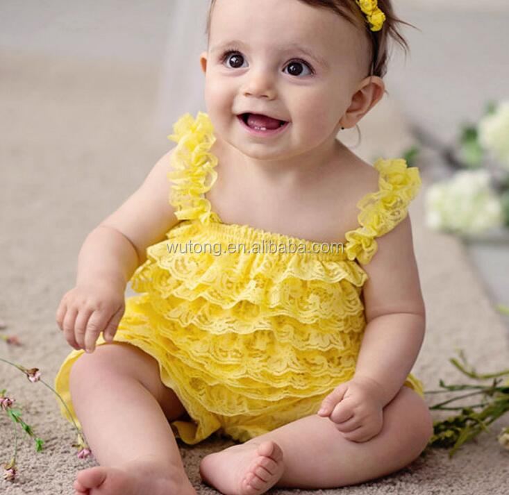 Baby Girls Sleeveless Lace Floral Rompers Fashion One Piece Summer Jumpsuit 2016 Hot Selling Yellow Ruffle Lace Rompers