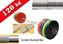 bright zinc barbell and bumper plate set