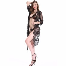 2017 Open Style Black Hollow Out Mature Women Hot Lace Sexy Pussy Lingerie Sleepwear