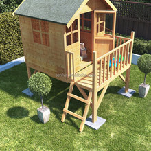 China timber products manufacturer of prefab kid play toy house with slide option