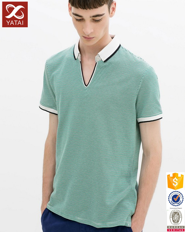 Striped polo t shirt wholesale with dyed collar for men Wholesale polo t shirts