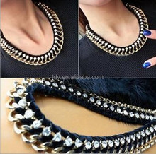 Thick Chain Bib Woven Suede Strap Crystal Inlaid Short Sexy Women Fashion Jewelry