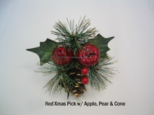 Christmas pick w/ apple, pear, pine cone, pine, berry