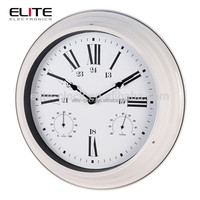 metal painting case large white thermo hygro weather station wall clock