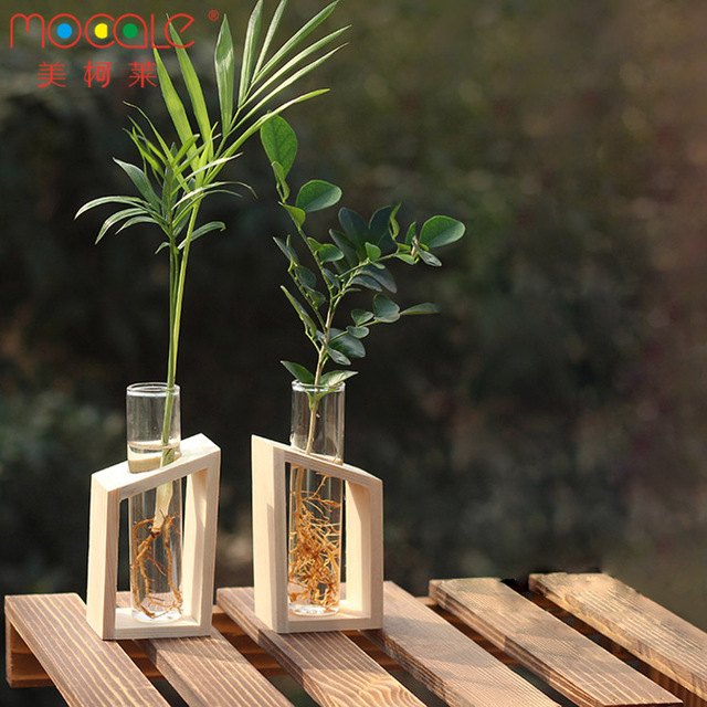 2pcs Crystal Glass Test Tube Flowers Plants Vases Set With Wooden Base For Home Decor