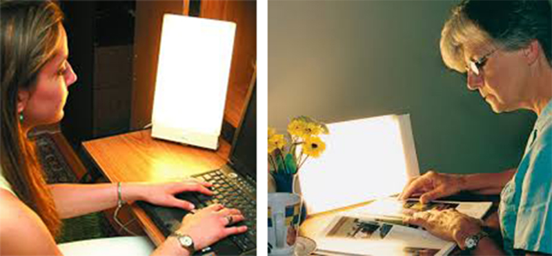 desktop refreshing anti fatigue of the therapy light lamp at reading book
