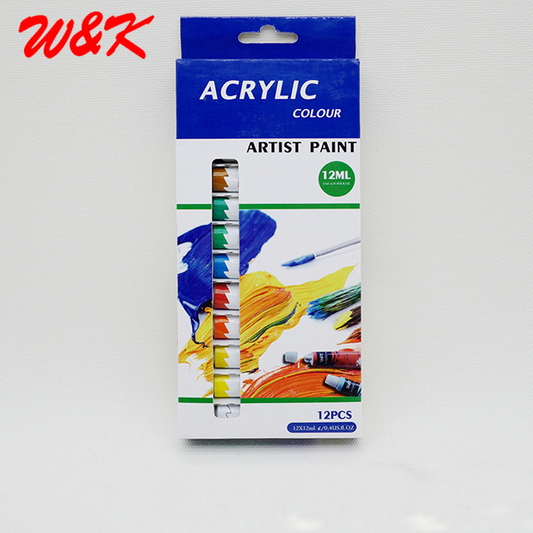 Art Acrylic Paint MSDS Tube Packing 12pcs Set